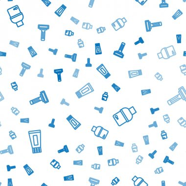Set line Tube of toothpaste, Toilet bowl and Shaving razor on seamless pattern. Vector. icon