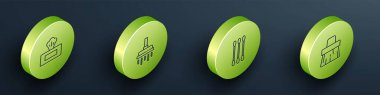Set Isometric Wet wipe pack, Shower head, Cotton swab for ears and Handle broom icon. Vector. icon