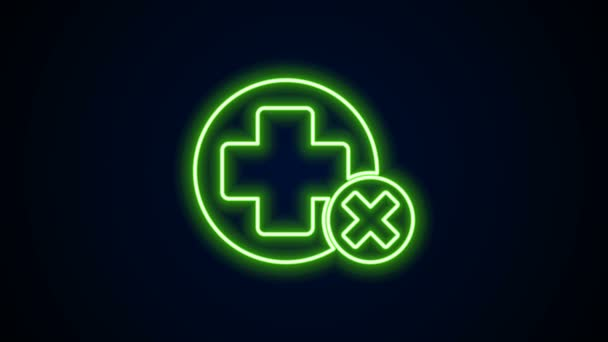 Žhnoucí neonová čára Cross nemocnice lékařské ikony izolované na černém pozadí. První pomoc. Diagnostický symbol. Značka medicíny a farmacie. Grafická animace pohybu videa 4K