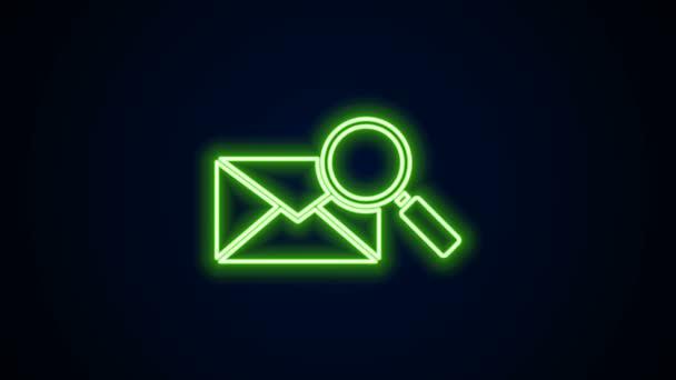 Zářící neonová čára Obálka s ikonou lupy izolovanou na černém pozadí. Grafická animace pohybu videa 4K
