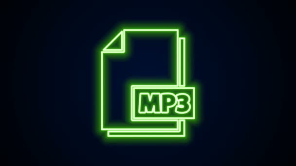 Glowing neon line MP3 file document. Download mp3 button icon isolated on black background. Mp3 music format sign. MP3 file symbol. 4K Video motion graphic animation