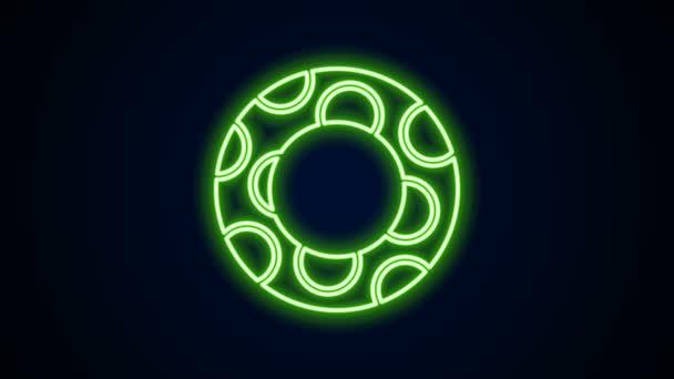 Leuchtende Neon-Linie Schwimmring-Symbol aus Gummi isoliert auf schwarzem Hintergrund. Rettungsring für den Strand, Rettungsgurt für die Menschenrettung. 4K Video Motion Grafik Animation