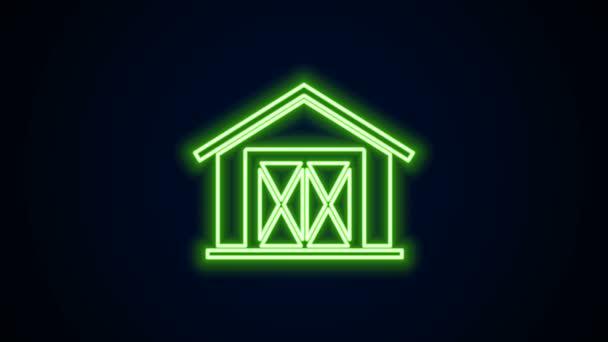 Leuchtende Leuchtschrift Bauernhaus-Symbol isoliert auf schwarzem Hintergrund. 4K Video Motion Grafik Animation