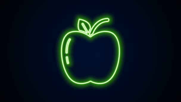 Zářící neonová čára Ikona Apple izolovaná na černém pozadí. Ovoce se symbolem listu. Grafická animace pohybu videa 4K