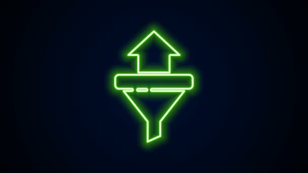 Glowing neon line Sales funnel with arrows for marketing and startup business icon isolated on black background. Infographic template. 4K Video motion graphic animation