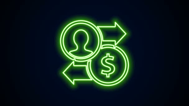 Glowing neon line Job promotion exchange money icon isolated on black background. Success, achievement, motivation business symbol, growth. 4K Video motion graphic animation