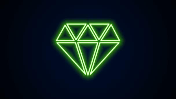 Zářící neonová čára Diamantová ikona izolovaná na černém pozadí. Symbol šperků. Drahokam. Grafická animace pohybu videa 4K