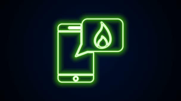 Žhnoucí neonová linka Mobilní telefon s ikonou tísňového volání 911 izolovaný na černém pozadí. Policie, sanitka, hasiči, hovor, telefon. Grafická animace pohybu videa 4K