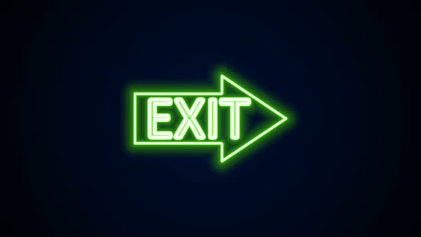 Glowing neon line Fire exit icon isolated on black background. Fire emergency icon. 4K Video motion graphic animation