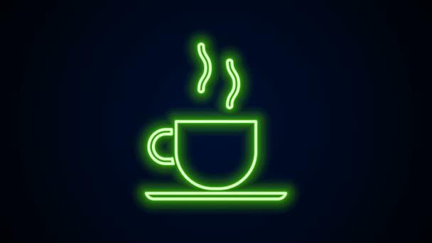 Zářící neonová čára Ikona šálek kávy izolované na černém pozadí. Šálek čaje. Horké kafe. Grafická animace pohybu videa 4K