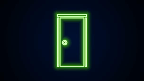 Ragyogó neon vonal Zárt ajtó ikon elszigetelt fekete háttér. 4K Videó mozgás grafikus animáció