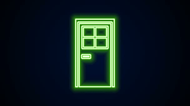 Žhnoucí neonová čára Ikona zavřených dveří izolovaná na černém pozadí. Grafická animace pohybu videa 4K