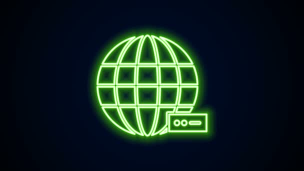 Glowing neon line Global technology or social network icon isolated on black background. 4K Video motion graphic animation