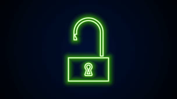 Zářící neonová čára Ikona otevřeného zámku izolovaná na černém pozadí. Otevřený zámek. Koncept kybernetické bezpečnosti. Digitální ochrana údajů. Grafická animace pohybu videa 4K