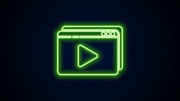 Zářící neon line Online přehrávání video ikony izolované na černém pozadí. Filmový proužek s nápisem. Grafická animace pohybu videa 4K