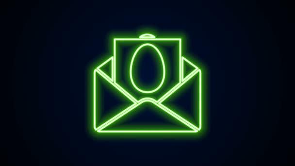 Leuchtende Neon-Linie Grußkarte mit Frohe Ostern Symbol isoliert auf schwarzem Hintergrund. Festplakatvorlage für Einladung oder Grußkarte. 4K Video Motion Grafik Animation