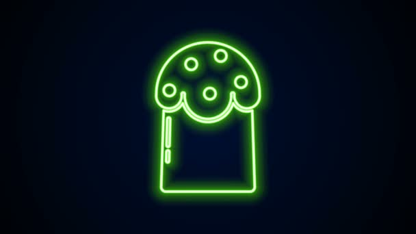 Glowing neon line Easter cake icon isolated on black background. Happy Easter. 4K Video motion graphic animation