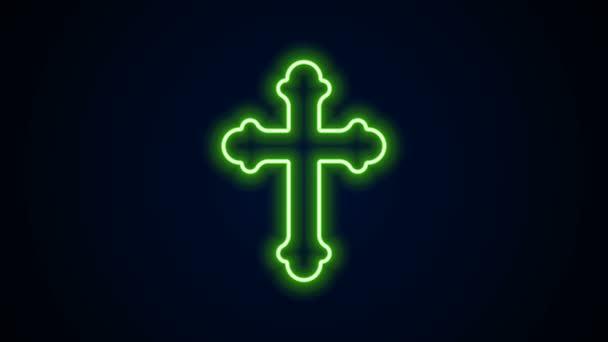 Ragyogó neon vonal Keresztény kereszt ikon elszigetelt fekete háttérrel. Templomi kereszt. 4K Videó mozgás grafikus animáció