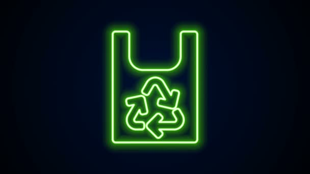 Glowing neon line Plastic bag with recycle icon isolated on black background. Bag with recycling symbol. 4K Video motion graphic animation
