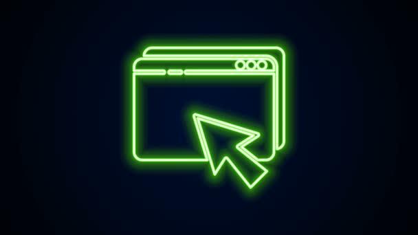 Leuchtende Neon-Linie Web-Design und Entwicklungskonzepte Symbol isoliert auf schwarzem Hintergrund. 4K Video Motion Grafik Animation