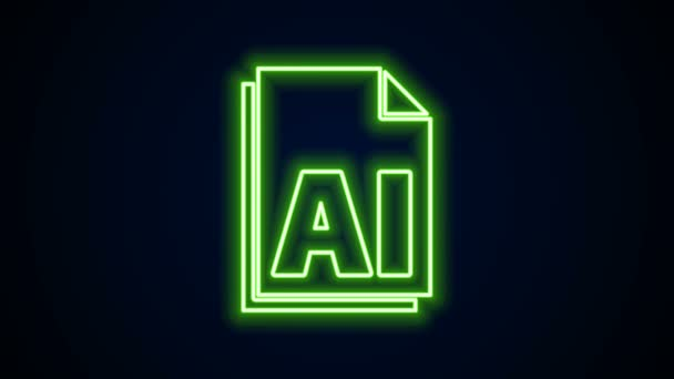 Glowing neon line AI file document. Download ai button icon isolated on black background. AI file symbol. 4K Video motion graphic animation