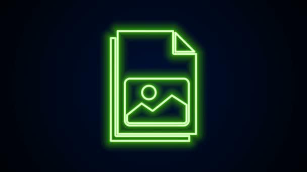 Zářící neonová čára Obrázek krajiny ikona izolované na černém pozadí. Grafická animace pohybu videa 4K