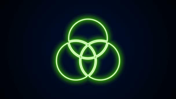 Ragyogó neon vonal RGB és CMYK színkeverés ikon elszigetelt fekete alapon. 4K Videó mozgás grafikus animáció