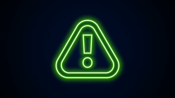 Glowing neon line Exclamation mark in triangle icon isolated on black background. Hazard warning sign, careful, attention, danger warning important. 4K Video motion graphic animation