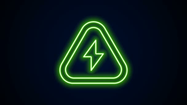 Glowing neon line High voltage icon isolated on black background. Danger symbol. Arrow in triangle. Warning icon. 4K Video motion graphic animation