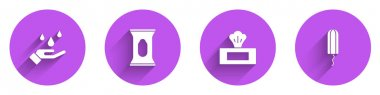 Set Washing hands with soap, Wet wipe pack,  and Sanitary tampon icon with long shadow. Vector. icon