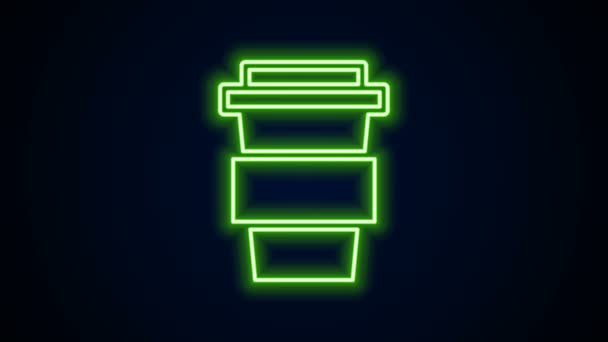 Glowing neon line Coffee cup to go icon isolated on black background. 4K Video motion graphic animation