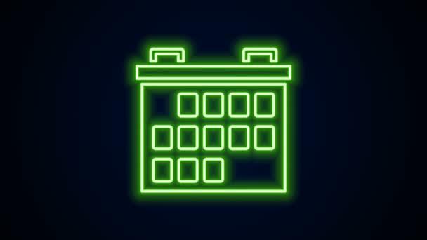 Zářící neonový řádek Kalendář ikona izolované na černém pozadí. Symbol připomenutí události. Grafická animace pohybu videa 4K