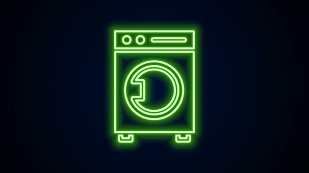 Leuchtende Leuchtschrift Washer Symbol isoliert auf schwarzem Hintergrund. Waschmaschinensymbol. Kleiderwaschmaschine - Waschmaschine. Haushaltsgerätesymbol. 4K Video Motion Grafik Animation
