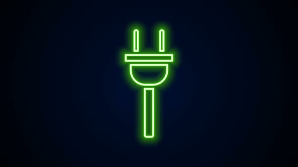 Glowing neon line Electric plug icon isolated on black background. Concept of connection and disconnection of the electricity. 4K Video motion graphic animation