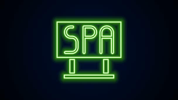 Ragyogó neon vonal Spa szalon tábla ikon elszigetelt fekete háttér. 4K Videó mozgás grafikus animáció