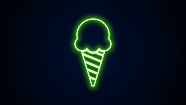 Zářící neonová čára Zmrzlina ve vaflovacím kuželu ikona izolované na černém pozadí. Pěkný symbol. Grafická animace pohybu videa 4K