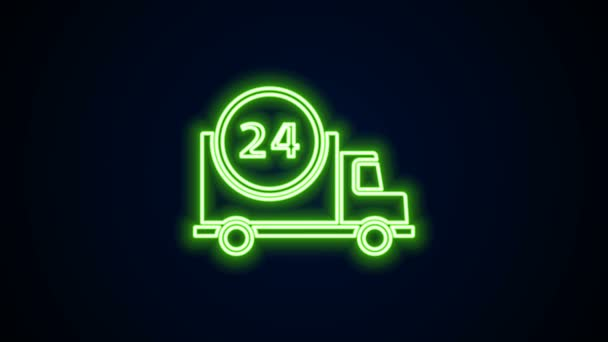 Glowing neon line Fast round the clock delivery by car icon isolated on black background. 4K Video motion graphic animation