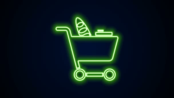 Glowing neon line Shopping cart and food icon isolated on black background. Food store, supermarket. 4K Video motion graphic animation