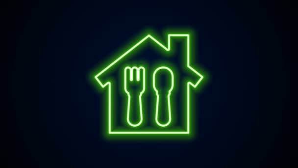 Glowing neon line Online ordering and fast food delivery icon isolated on black background. 4K Video motion graphic animation