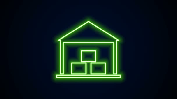 Glowing neon line Warehouse icon isolated on black background. 4K Video motion graphic animation
