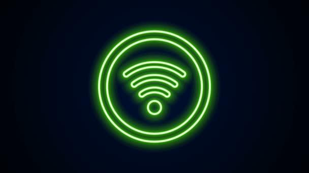Leuchtendes neonliniges Symbol für das drahtlose Internet-Netzwerk Wi-Fi isoliert auf schwarzem Hintergrund. 4K Video Motion Grafik Animation