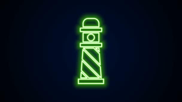 Leuchtende Leuchtturmsymbole auf schwarzem Hintergrund. 4K Video Motion Grafik Animation