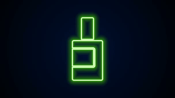 Glowing neon line Plastic bottle for laundry detergent, bleach, dishwashing liquid or another cleaning agent icon isolated on black background. 4K Video motion graphic animation