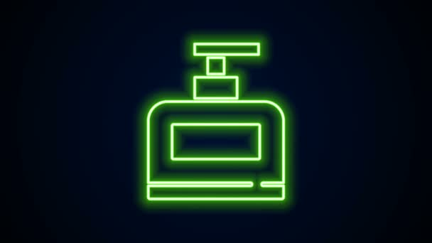 Glowing neon line Bottle of shampoo icon isolated on black background. 4K Video motion graphic animation