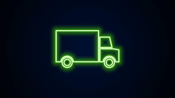 Leuchtende Neon-Linie Schnelle Lieferung rund um die Uhr per Auto-Ikone isoliert auf schwarzem Hintergrund. 4K Video Motion Grafik Animation