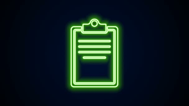 Glowing neon line Clipboard with checklist icon isolated on black background. Control list symbol. Survey poll or questionnaire feedback form. 4K Video motion graphic animation