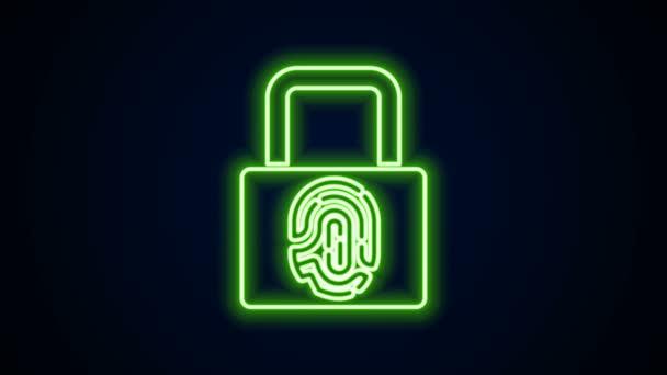 Zářící neonová čára Otisk prstu s ikonou zámku izolovaný na černém pozadí. Ikona ID aplikace. Identifikační značka. Dotkni se ID. Grafická animace pohybu videa 4K