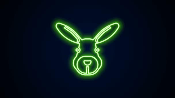 Leuchtende Leuchtschrift Kaninchenkopf-Symbol isoliert auf schwarzem Hintergrund. 4K Video Motion Grafik Animation