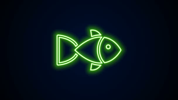 Ragyogó neon vonal Halak ikon elszigetelt fekete háttér. 4K Videó mozgás grafikus animáció