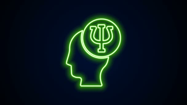 Glowing neon line Psychology icon isolated on black background. Psi symbol. Mental health concept, psychoanalysis analysis and psychotherapy. 4K Video motion graphic animation